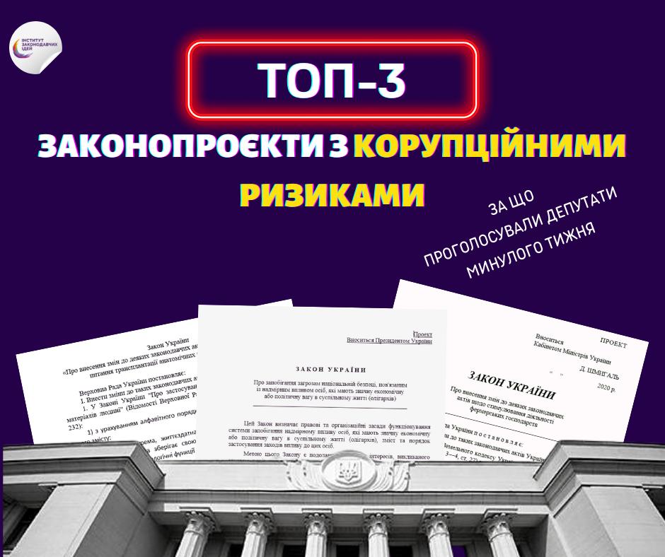 ТОП-3 законопроєкти з корупційними ризиками, які Рада ухвалила минулого тижня